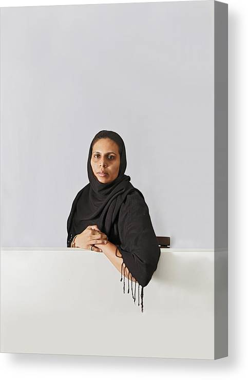 Interesting Canvas Print featuring the photograph Middle East Lady With Headscarf by Kantilal Patel
