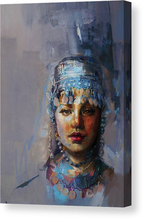 Sindh Canvas Print featuring the painting 9 Pakistan Folk Khyber Pakhtunkhwac by Mahnoor Shah