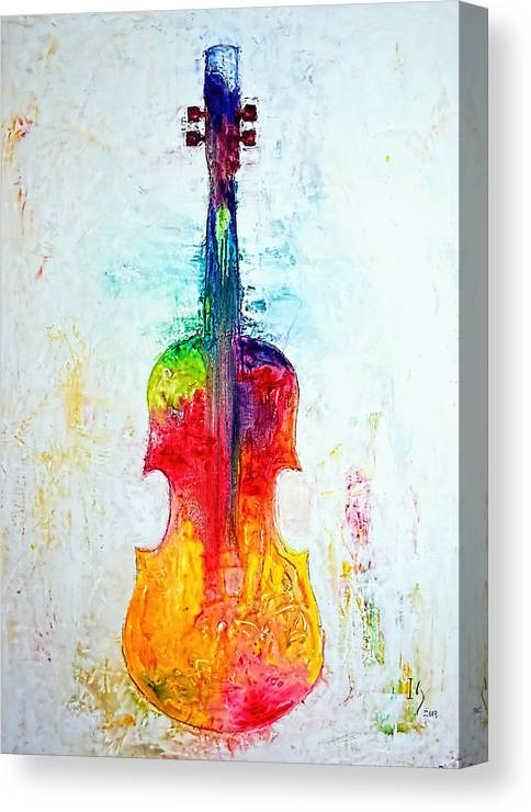 Music Canvas Print featuring the mixed media Beyond The Strings by Ivan Guaderrama