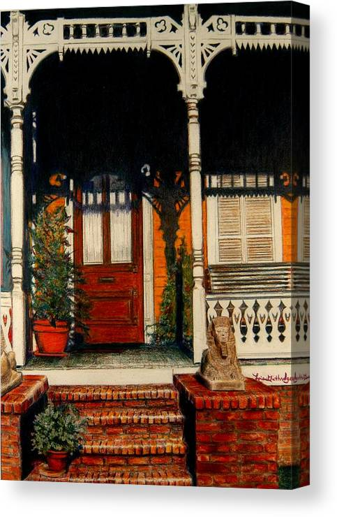 Front Porch Canvas Print featuring the drawing The Front Porch by Lois Guthridge