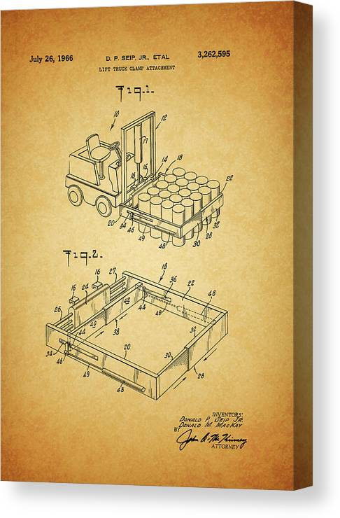 1966 Forklift Clamp Patent Canvas Print featuring the mixed media 1966 Forklift Clamp Patent by Dan Sproul