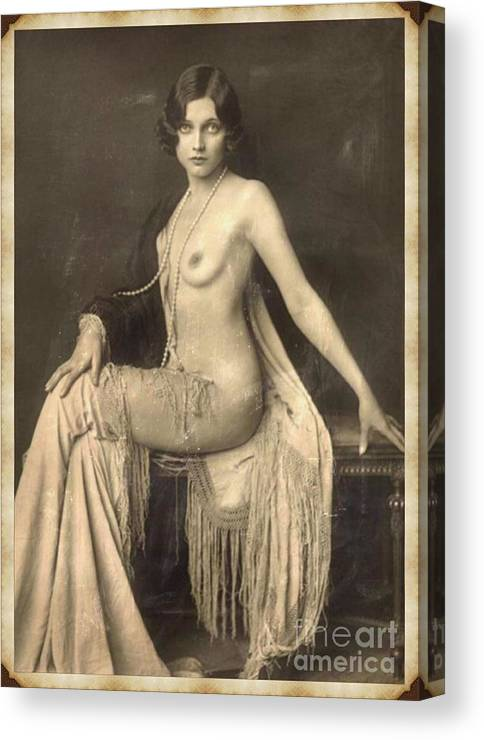 Vintage Canvas Print featuring the digital art Digital Ode To Vintage Nude By Mb by Mary Bassett