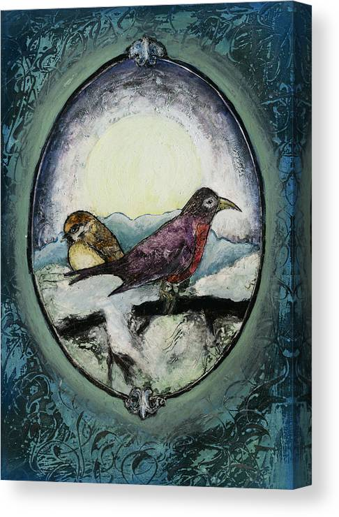 Birds Canvas Print featuring the painting Birds In Winter by Alisa Amor