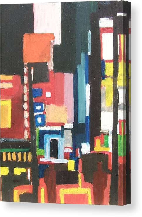 Cityscape Canvas Print featuring the painting Bway At 46th by Ron Erickson