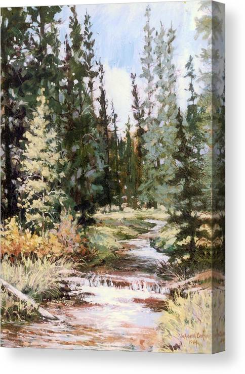 Stream Canvas Print featuring the painting High Uintah Stream by JoAnne Corpany