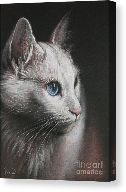 Cat Canvas Print featuring the painting Light And Darkness by Valentina Vassilieva