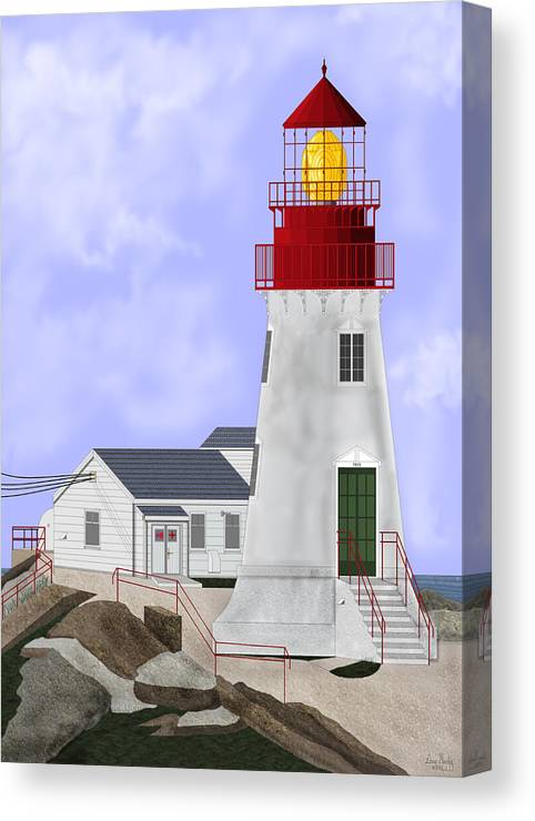Lighthouse Canvas Print featuring the painting Lindesnes Norway Lighthouse by Anne Norskog