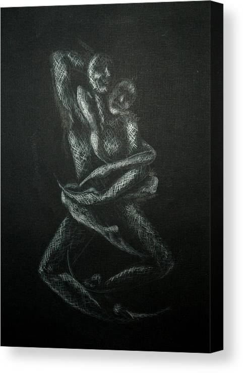 Dancers Canvas Print featuring the drawing n10 of Birds Series by Nani Nogara