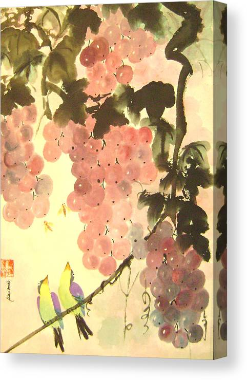 Water Colour Canvas Print featuring the painting Pink Romance by Lian Zhen