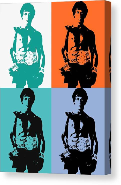 Rocky Balboa Pop Art Panels Canvas Print featuring the mixed media Rocky Balboa Pop Art Panels by Dan Sproul