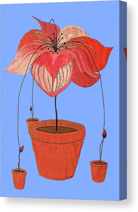 Potted Plant Canvas Print featuring the painting Self-seeding Pot Plants by SB Boursot