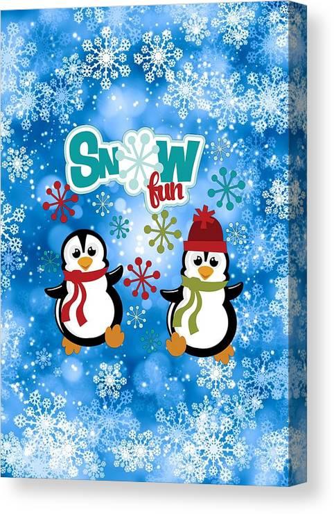 Snow Canvas Print featuring the digital art Snow Fun Penguins by Justin Clanton