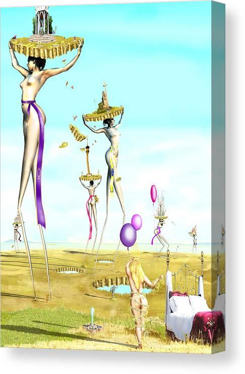 The Female Deity Sending Out Her Minions To Gather Male Religious Symbols Canvas Print featuring the digital art The Female Deity Sending Out Her Minions To Gather Male Religious Symbols One by Leo Malboeuf