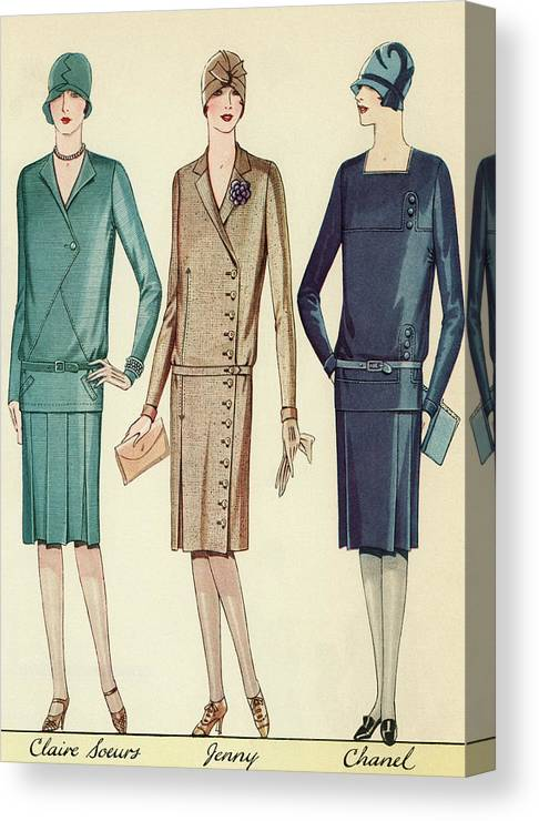 Flapper Canvas Print featuring the painting Three Flappers Modelling French Designer Outfits, 1928 by American School