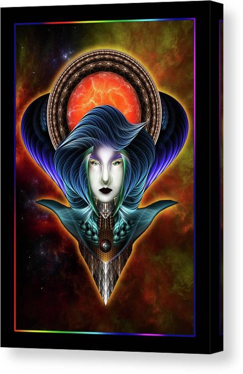 Fractal Canvas Print featuring the digital art Trilia Red Nebula Fractal Art Portrait by Xzendor7