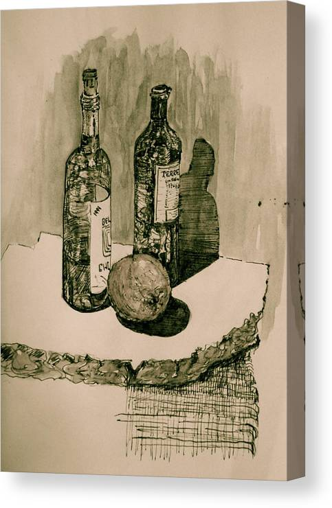 Landscape Canvas Print featuring the drawing Wine On The Rock by Dan Earle