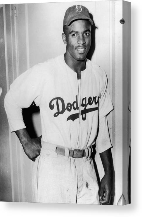 People Canvas Print featuring the photograph Jackie Robinson by Hulton Archive