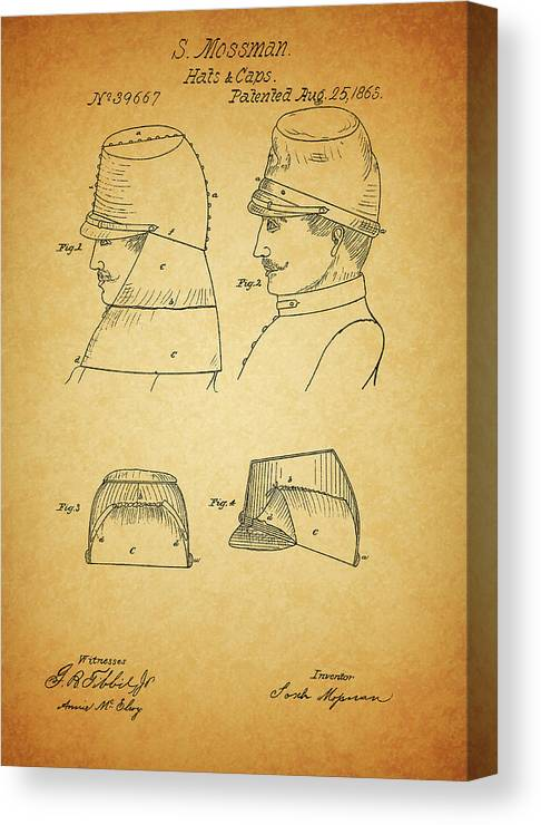 Civil War Military Hat Canvas Print featuring the drawing Civil War Military Hat by Dan Sproul