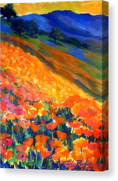 Poppies Canvas Print featuring the painting Hillside Poppy Burst by Therese Fowler-Bailey