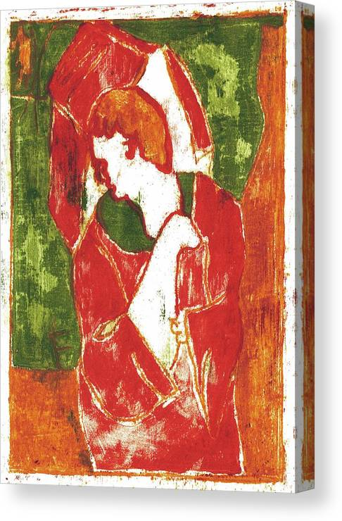 Red Canvas Print featuring the painting Man Sat On A Village Wall 1 by Edgeworth DotBlog