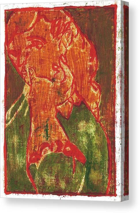 Thumb Canvas Print featuring the painting Thumb Cheek Girl 5 by Edgeworth DotBlog