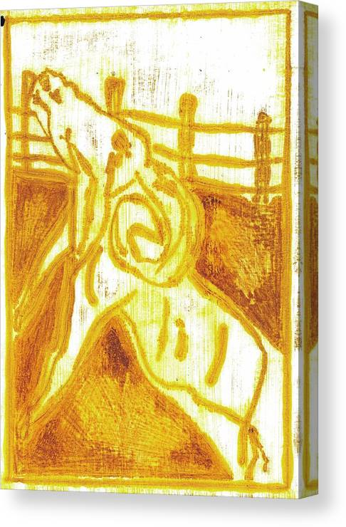 Yellow Canvas Print featuring the painting Yellow Ram by Edgeworth DotBlog