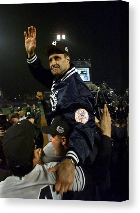 Celebration Canvas Print featuring the photograph Joe Torre by Jed Jacobsohn