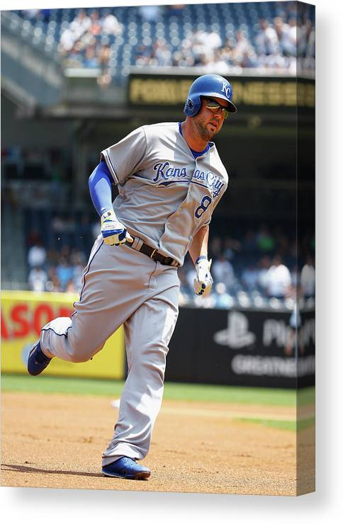 People Canvas Print featuring the photograph Mike Moustakas And Michael Pineda by Al Bello