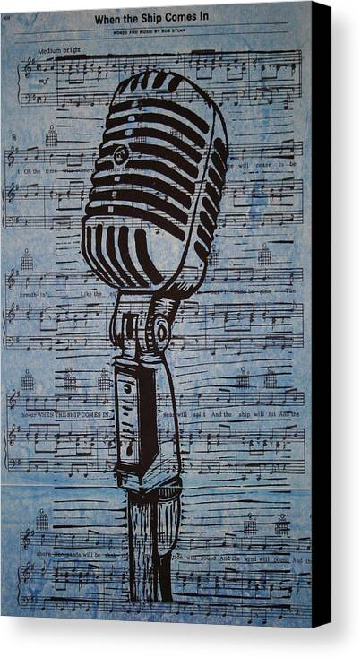 Mic Canvas Print featuring the drawing Shure 55s On Music by William Cauthern