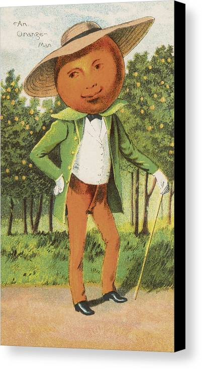 Vintage Canvas Print featuring the drawing An Orange Man by Aged Pixel