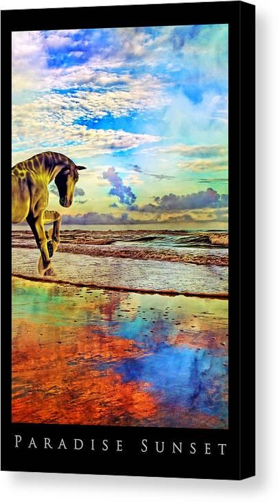 Beach Canvas Print featuring the mixed media Paradise Sunset by Betsy Knapp