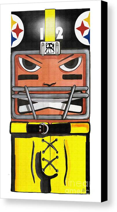 Steelers Canvas Print featuring the digital art Square Steel by Ray Arcadio