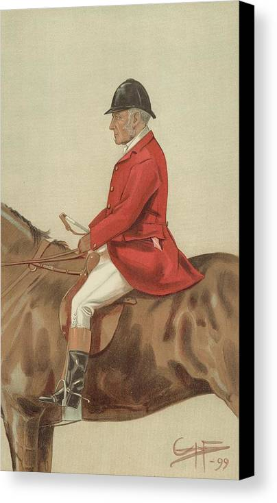 Caricature; William Ward Tailby; Leicestershire Man; 6 April 1899; Vanity Fair; Cartoon; Horse; Hunt; Hunting Canvas Print featuring the painting William Ward Tailby by Sir Samuel Luke Fildes