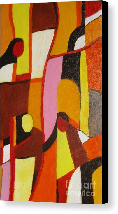 Semi Abstract Canvas Print featuring the painting Four Women by Nedunseralathan R