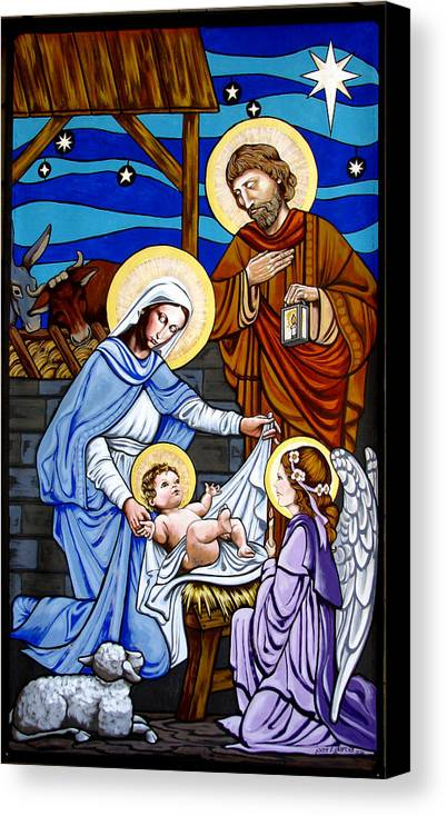 Nativity Canvas Print featuring the painting Nativity At Valley Ranch by Joan Garcia