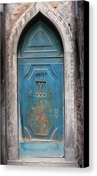 Venice Canvas Print featuring the photograph Blue Gothic Door In Venice by Michael Henderson