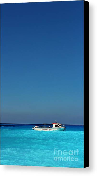 Boat Canvas Print featuring the photograph In Blue by Binka Kirova