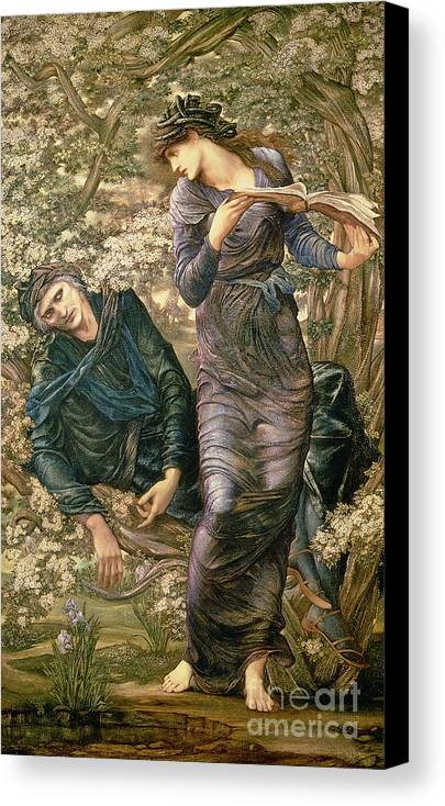 The Beguiling Of Merlin Canvas Print featuring the painting The Beguiling Of Merlin by Sir Edward Burne-Jones