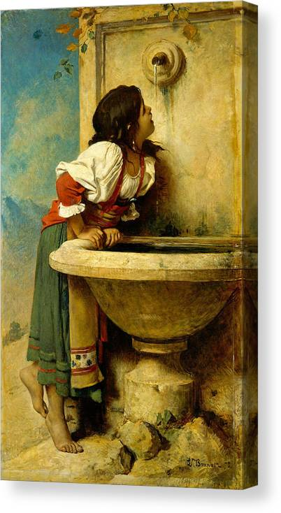Leon Bonnat Canvas Print featuring the painting Roman Girl At A Fountain by Leon Bonnat