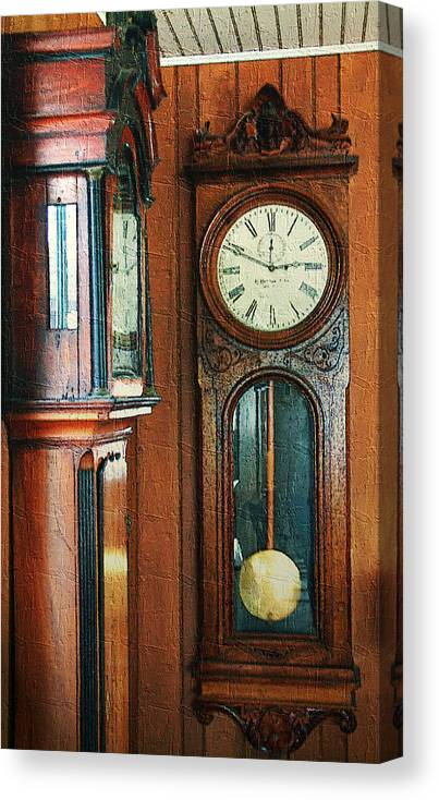 Antiques Canvas Print featuring the digital art Somebodys Grandfathers Clocks by RC DeWinter
