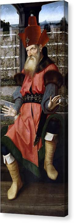 Jan Provoost Canvas Print featuring the painting The Prophet Zachariah by Jan Provoost