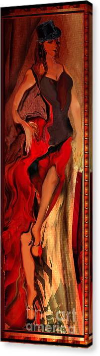Woman Canvas Print featuring the painting Debut In Red by Anne Weirich