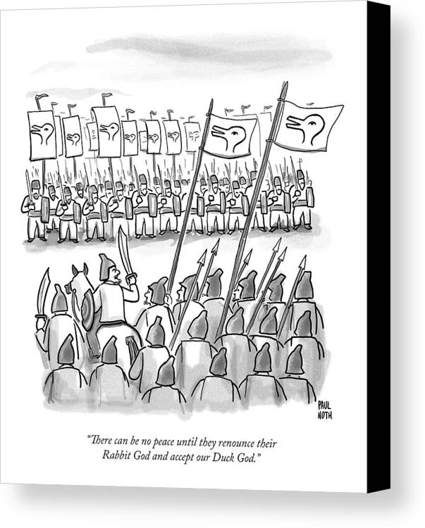 War Canvas Print featuring the drawing An Army Lines Up For Battle by Paul Noth