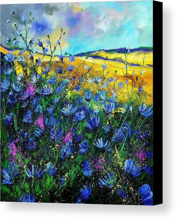 Flowers Canvas Print featuring the painting Blue Wild Chicorees by Pol Ledent