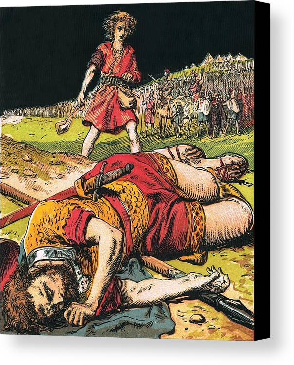 Bible Canvas Print featuring the painting Goliath by English School