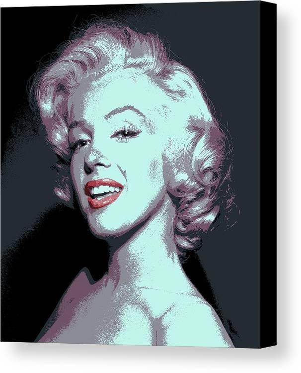 marilyn Monroe Canvas Print featuring the digital art Marilyn Monroe Pop Art by Daniel Hagerman