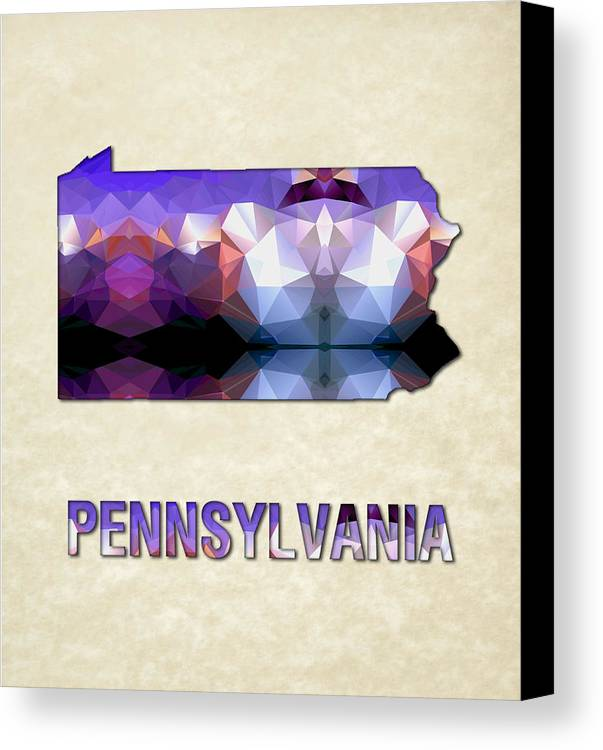 Pennsylvania State Map United+states America Maps Cartography Geography Municipalities Travel Routes Canvas Print featuring the painting Polygon Mosaic Parchment Map Pennsylvania by Elaine Plesser