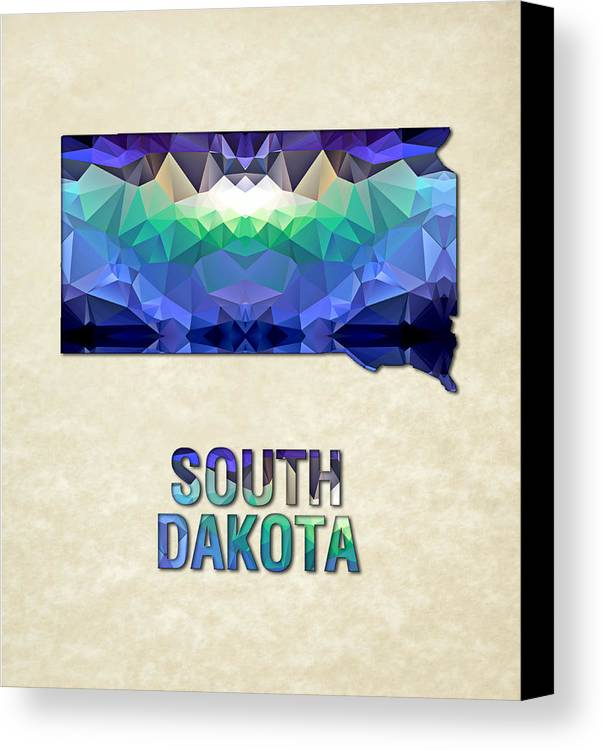 South+dakota State Map United+states America Maps Cartography Geography Municipalities Travel Routes Canvas Print featuring the painting Polygon Mosaic Parchment Map South Dakota by Elaine Plesser