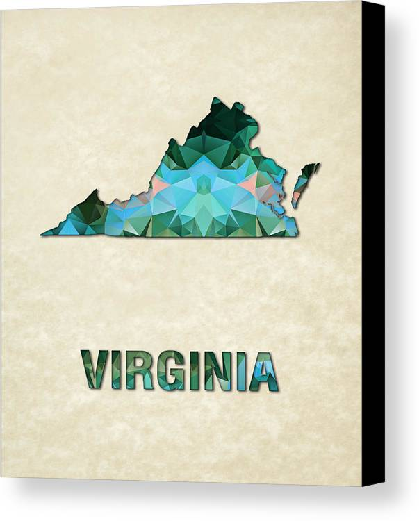 Virginia State Map United+states America Maps Cartography Geography Municipalities Travel Routes Canvas Print featuring the painting Polygon Mosaic Parchment Map Virginia by Elaine Plesser