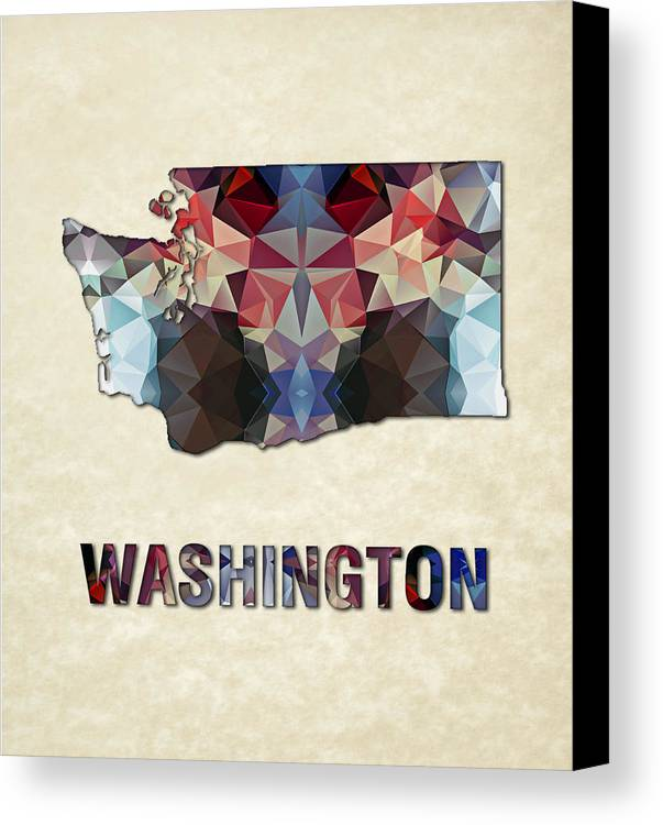 Washington State Map United+states America Maps Cartography Geography Municipalities Travel Routes Canvas Print featuring the painting Polygon Mosaic Parchment Map Washington by Elaine Plesser